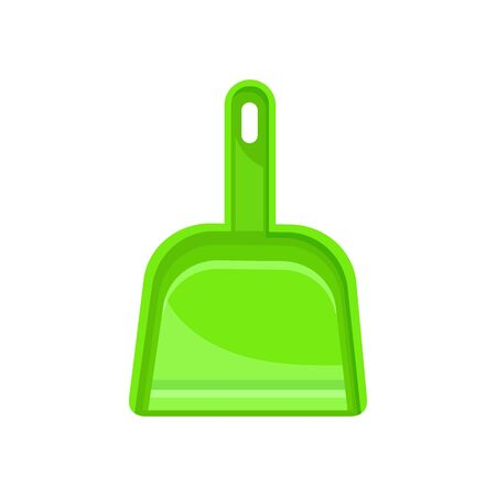 Green dustpan isolated cleaning scoop. Vector plastic tool to gather rubbish and dust