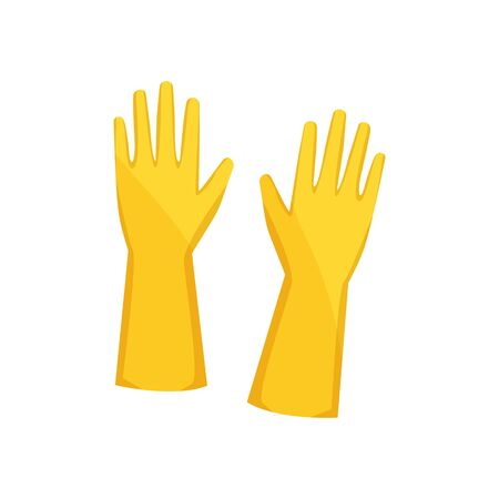 Latex hypoallergenic cleaning gloves isolated. Vector pair of cleaning waterproof rubber gloves