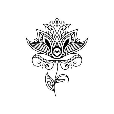 Floral ornament ink outline vector illustration. Fantasy abstract blooming isolated contour design element. Folk flower motif black clipart on white background. Fairytale blossom coloring book drawing