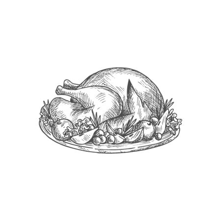 Cooked and plated turkey with garnish isolated sketch. Vector hand drawn plate with roasted poultry bird Ilustración de vector