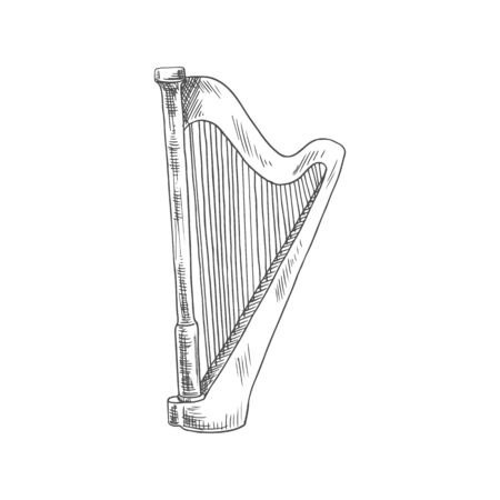 Retro harp isolated old musical instrument. Vector stringed lyre, Irish or Celtic music tool