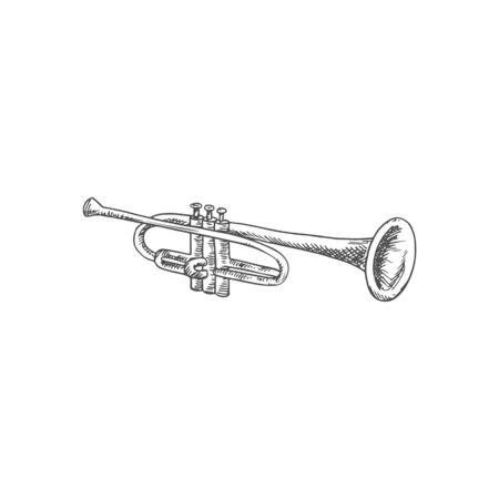 Horn wind music instrument isolated monochrome trumpet. Vector trombone or cornet, retro flugelhorn