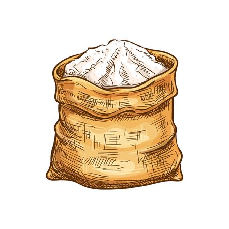 Bag with sugar or flour isolated sketch. Vector burlap sack of wholemeal bread