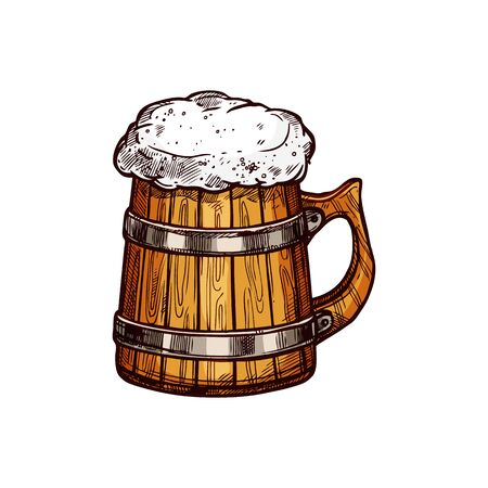 Wooden mug of frosty beer isolated alcohol drink sketch. Vector light or dark ale in lager