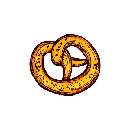 Crispy pretzel or bretzel with cumin seeds isolated. Vector twisted bakery food, snack in form of knot