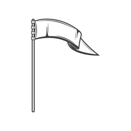 White flag blowing on wind isolated symbol of defense. Vector waving banner on flagpole