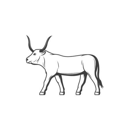 Apis bull horned divinity of Egypt isolated animal. Vector Hapi-ankh horned worshiped cow or bull Vettoriali