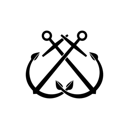 Crossed anchors isolated marine objects. Vector crossed ship ankers, vessel mooring symbol