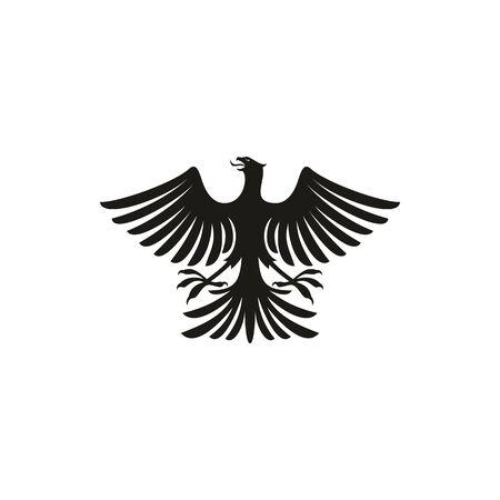 Black eagle heraldry symbol isolated bird mascot. Vector black hawk with spread feather tail, heraldic falcon