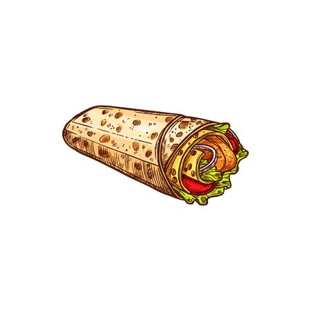Filled tortilla, burrito with meat and vegetables isolated fastfood snack. Vector shaurma or shawarma street food