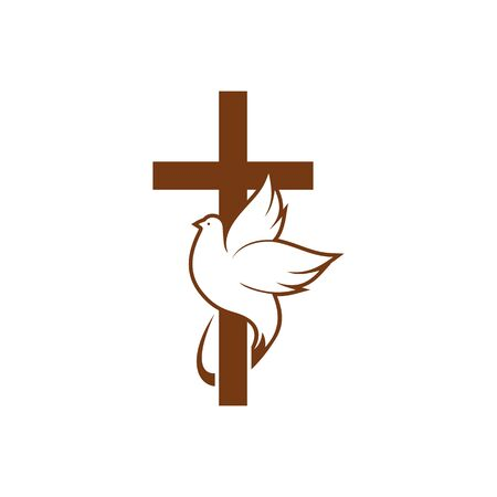 Dove on peace and cross isolated religion symbol. Vector holy spirit bird and crucifix