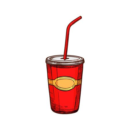 Cola drink disposable cup with lid and straw isolated sketch. Vector takeaway milkshake, soda or juice Ilustração
