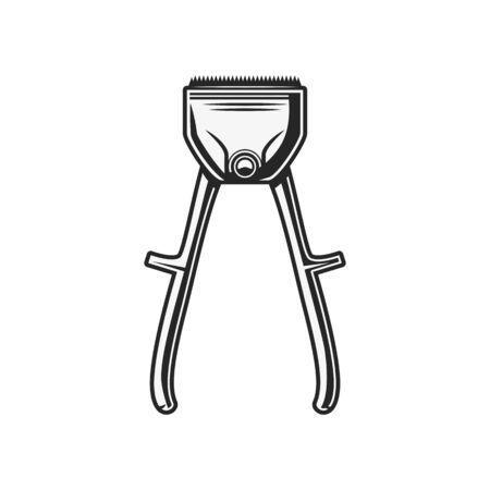 Hair clippers isolated retro cutting tool. Vector manual implement used to cut beard and moustaches Vektorové ilustrace