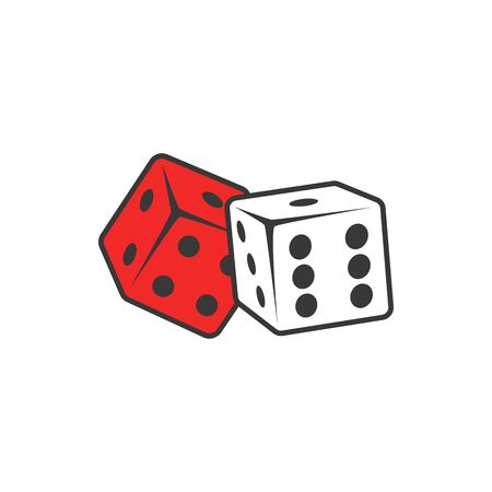 Pair of dices isolated gambling games equipment. Vector playing cubes, casino playing tools