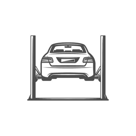 Car lifting isolated monochrome icon. Vector vehicle lifted in automobile service, auto repair lift