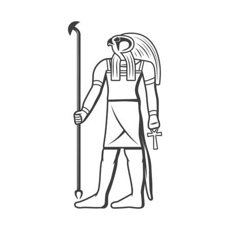 Egyptian solar deity Ra isolated icon. Vector Egypt god of sun with eagle head, scepter and coptic cross