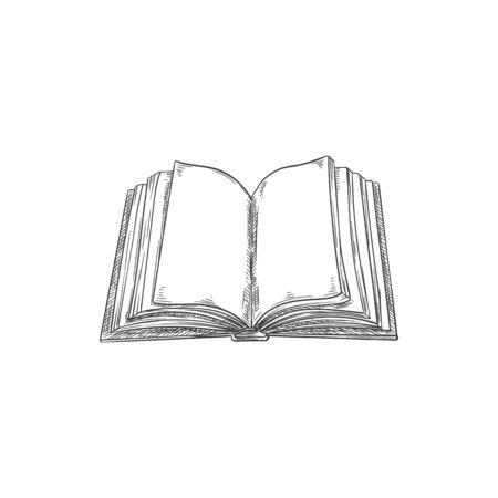 Empty pages of open book isolated textbook sketch. Vector dictionary or encyclopedia in hard cover Ilustración de vector