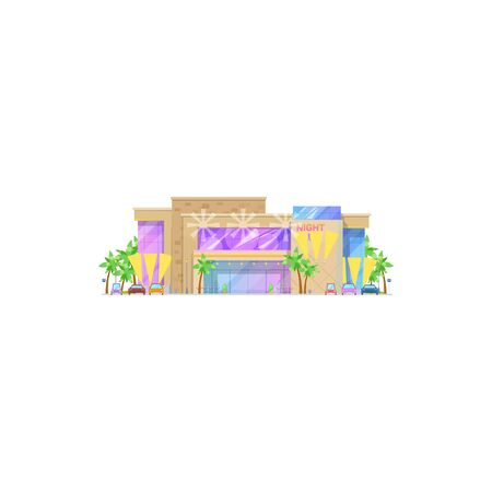 Nightclub building isolated facade exterior. Vector entertainment center with cars and palm trees