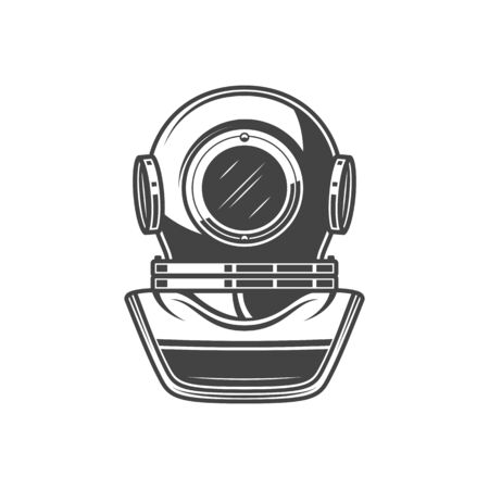 Retro diving helmet isolated old mask. Vector old-fashion equipment to dive in