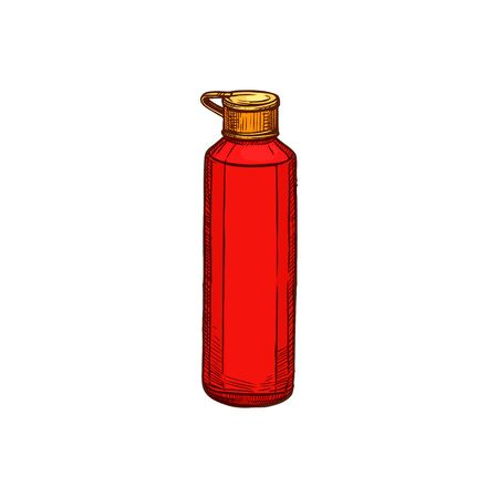 Sport water bottle isolated container with lid sketch. Vector plastic vacuum flask, red flask 向量圖像