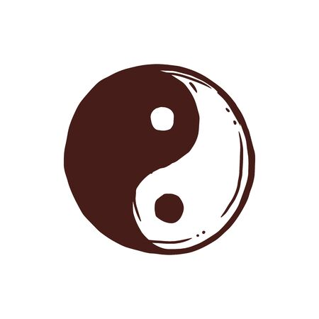 Yin yang isolated buddhism symbol, dark and bright. Vector negative and positive, dualism