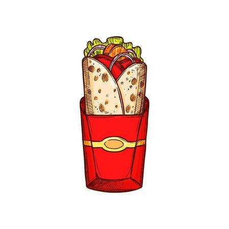 Kebab fastfood snack isolated burrito sketch. Vector shawarma in red back, takeaway food