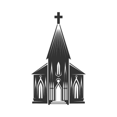 Church with tower isolated religion building facade. Vector holy building topped by cross