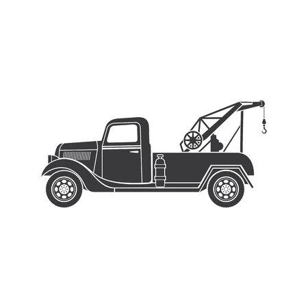 Loader crane isolated retro tow truck monochrome icon. Vector skip vehicle, building machine