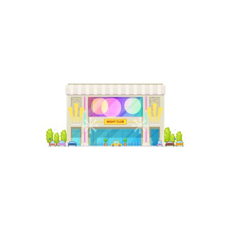 Building of nightclub isolated entertainment center. Vector night club with parking and palm trees Vector Illustration