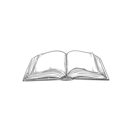 Blank pages of book in hardcover isolated textbook. Vector open encyclopedia or dictionary