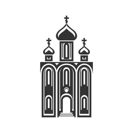 Domed church isolated monochrome icon. Vector religion building, temple or cathedral with chapels