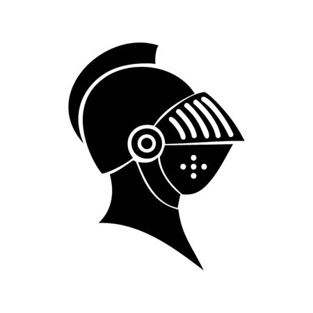 Medieval knight head icon isolated silhouette. Vector helmet profile view, heavy headdress mask