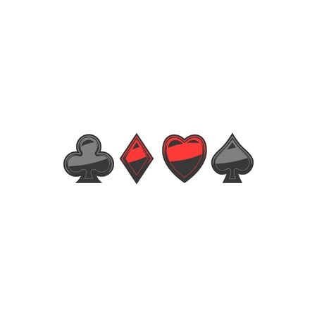 Spade, diamond, club and heart isolated suits. Vector red and black playing card signs