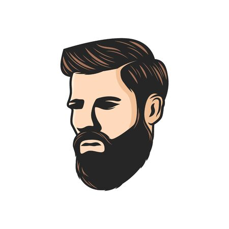 Bearded man with moustaches isolated model in barber shop saloon. Vector handsome male with hairstyle