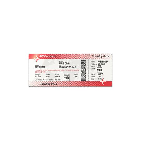 Ticket from Paris to Los Angeles isolated boarding pass. Vector checkin on airplane, travel document 向量圖像