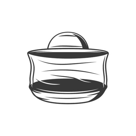 Beekeeping bowl isolated container with honey syrup. Vector basket to gather beecombs and beehives