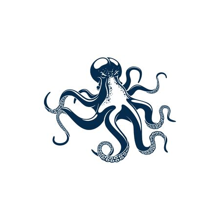 Octopus soft-bodied, eight-limbed mollusc isolated monochrome icon. Vector Octopoda marine animal with tentacles and suckers, fishing sport trophy mascot. Seafood emblem sign, aquatic character