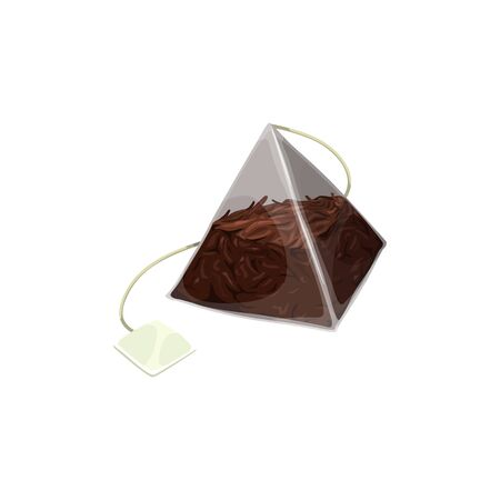 Pyramid teabag with black tea, blank tag isolated mockup. Vector triangular transparent package of herbal Chinese or Ceylon tea, natural organic drink in paper pack with thread or string