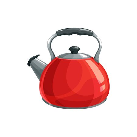 Stovetop whistling kettle isolated kitchenware. Vector red aluminum tea pot, stove top water boiling object, tea and coffee glossy container. Metal teapot water boiler, stainless steel tea kettle