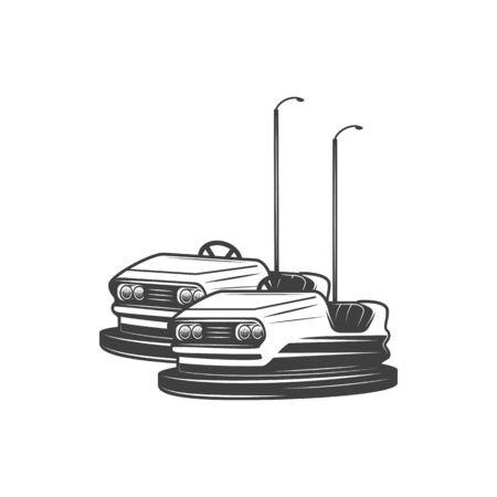 Electric bumper car isolated fairground bump. Vector old fanfair monochrome vehicles icon