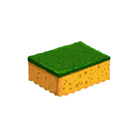 Sponge to clean car, dish, toilet or kitchen isolated fiber. Vector cleaning object in yellow and green