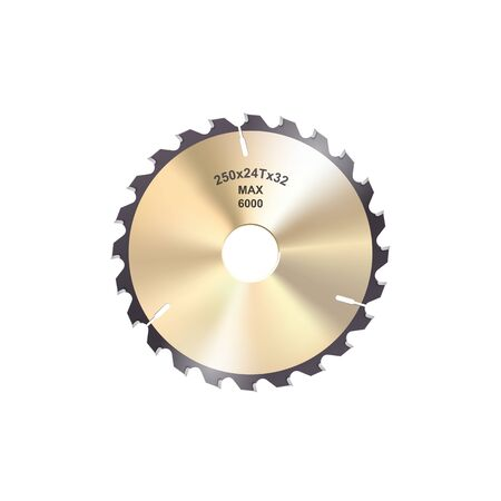 Rotary disk isolated sharp saw blade. Vector cutting gear, circular sawing cutter Vektorové ilustrace