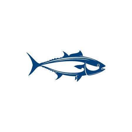 Bluefin tunny isolated saltwater fish, tuna icon. Vector Atlantic or Pacific bluefin tuna, blackfin longtail yellowfin tuna, fishing sport mascot. Tuna, tribe Thunnini, Scombridae mackerel family