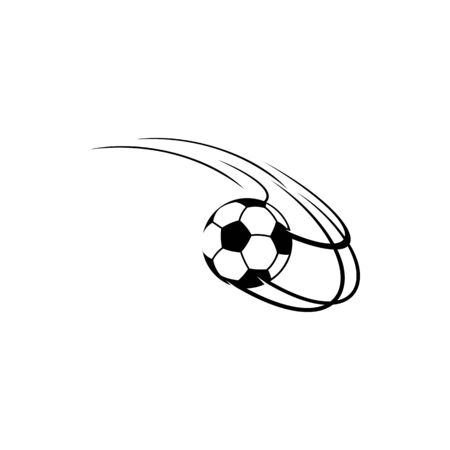 Soccer or football ball flying in motion isolated sport mascot. Vector movement of ball through net