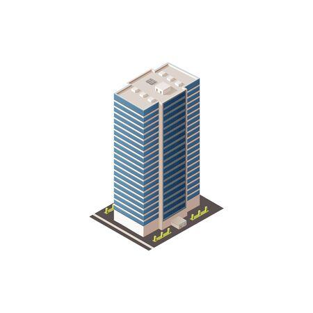 Centre d'affaires public ou bâtiment 3D isolé de l'hôtel. Gratte-ciel commercial de vecteur, extérieur futuriste Vecteurs