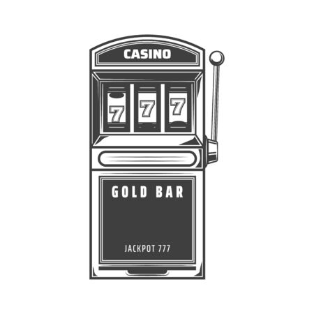 Slot machine one arm bandit isolated gambling icon. Vector jackpot, lucky sevens combination