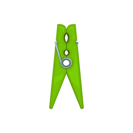 Plastic clothespin isolated green peg on white. Vector laundry clip glyph, clothes pin mockup. Wooden cloth clips, realistic peg. Fastener used to hang up drying clothes, spring-type wood clothespin Vecteurs