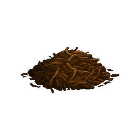 Pile of dry, fermented tea leaves isolated. Vector green, black or herbal tea ingredient, heap of dried tea leaf. Ceylon, Japanese or Chinese spices, matcha, sencha or puer aromatic tea leaves