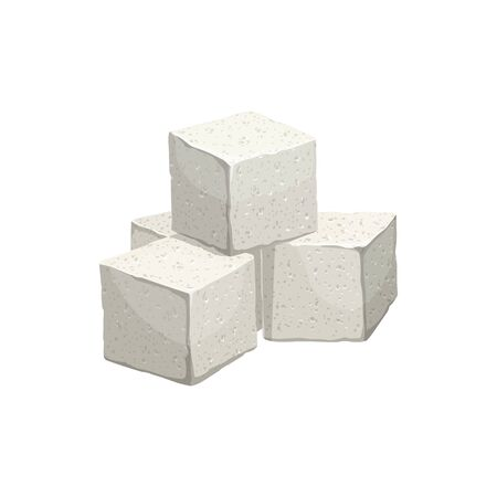 Pile of sugar cubes isolated refined tasty sugary product. Vector heap of white sugar blocks or squares, tea ceremony ingredients. Granulated sweet food, tea sweetener, beet or cane sugar crystals
