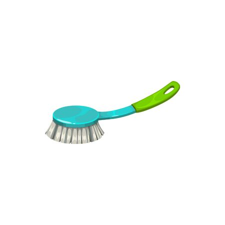 Furniture sweeper or massage body brush isolated cleaning tool. Vector skin wash and scrubbing tool, brush on handle to sweep rubbish or dust from table. Washcloth appliance to clean garment